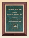 Cherry Finish Wood Plaque with Emerald Marble Plate Achievement Awards