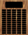 Walnut Finish Perpetual Plaque with Black Brass Plates Achievement Awards