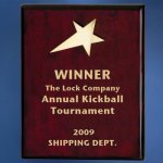 Piano Finish Wood Plaque with Brass Star Achievement Awards