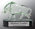 Glass Bull with Black Crystal Base Award Black Glass Awards