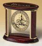 Skeleton Clock with Brass and Rosewood Piano Finish Boss Gift Awards