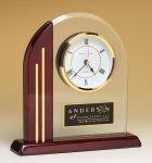 Arched Clock with Rosewood Piano Finish Post and Base Boss Gift Awards