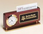 Rosewood Piano Finish Clock With Business Card Holder Boss Gift Awards