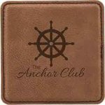 Leatherette Square Coaster -Dark Brown Boss Gift Awards