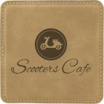 Leatherette Square Coaster -Light Brown Boss Gift Awards