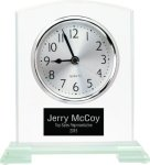 Square Arch Clear Glass Desk Clock with Split Step Base Boss Gift Awards