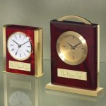 Brass and Wood Desk Clocks