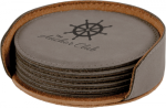 Leatherette Round Coaster Set -Gray  Employee Awards