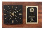 Genuine Walnut Clock Plaque Employee Awards