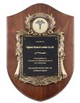 Genuine Walnut Plaque with Metal Casting with Black Engraving Plate Employee Awards