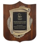 Genuine Walnut Plaque with Satin Finish and Metal Casting Employee Awards