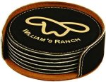 Leatherette Round Coaster Set -Black Employee Awards