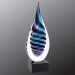 Blue/White/Black Twist Raindrop Art Glass Employee Awards