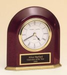 Rosewood Piano Finish Arched Desk Clock Employee Awards