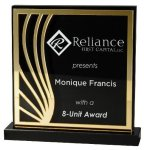 Deep Black Set Off By Gold On Acrylic  With A Black Screened Back Employee Awards