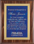 Walnut Finish Plaque Employee Awards