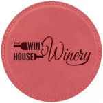 Leatherette Round Coaster -Pink Employee Awards