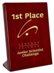 Piano Finish Rosewood Stand Up Plaque Employee Awards