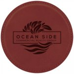 Leatherette Round Coaster -Rose' Employee Awards