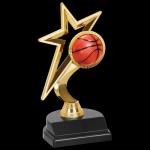 Gold Star Trophy -Basketball Figure on a Base Trophies