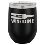 Double Wall Insulated Stainless Steel Stemless Wine Glass -Black Promotional Mugs