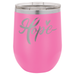 Double Wall Insulated Stainless Steel Stemless Wine Glass -Pink Promotional Mugs