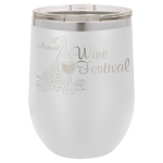 Double Wall Insulated Stainless Steel Stemless Wine Glass -White  Promotional Mugs