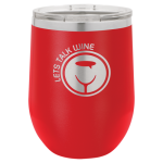 Double Wall Insulated Stainless Steel Stemless Wine Glass -Red Promotional Mugs