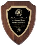 Genuine Walnut Shield  Plaque with Satin Finish Sales Awards