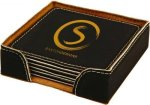 Leatherette Square Coaster Set -Black Sales Awards