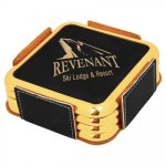 Leatherette Square Coaster Set with Gold Edge -Black  Sales Awards