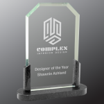 Clipped Corner Premier Glass with Black Marble Base Sales Awards