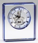 Elegant Crystal Clear Quartz Clock  Award  With Blue Edge  Laserable Secretary Gift Awards