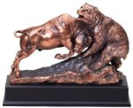 Resin Bear And Bull Signature Black Resin Trophy Awards