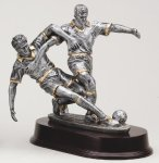 Soccer Double Action Signature Rosewood Resin Trophy Awards