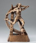 Ultra Action Series Sculpted Antique Gold Resin Trophy -Soccer Female Ultra Action Resin Trophy Awards