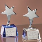 Small Stars with Crystal Bases Wood Cast Awards